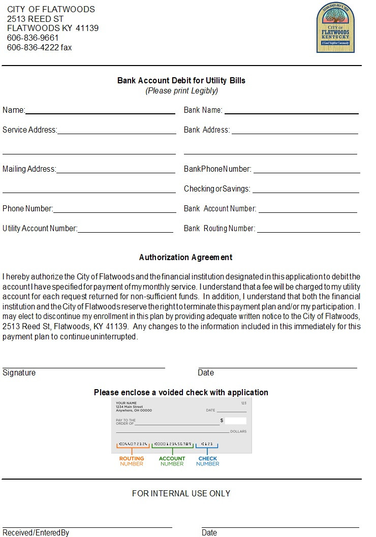 *AUTO DRAFT FORM* please come by the office to pick up a form or download from our website to sign up if you want your utility bill auto drafted from your bank account