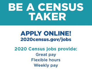 courtesy post for US Census  $14.00 per hour and $ .58 per mile, contact info below