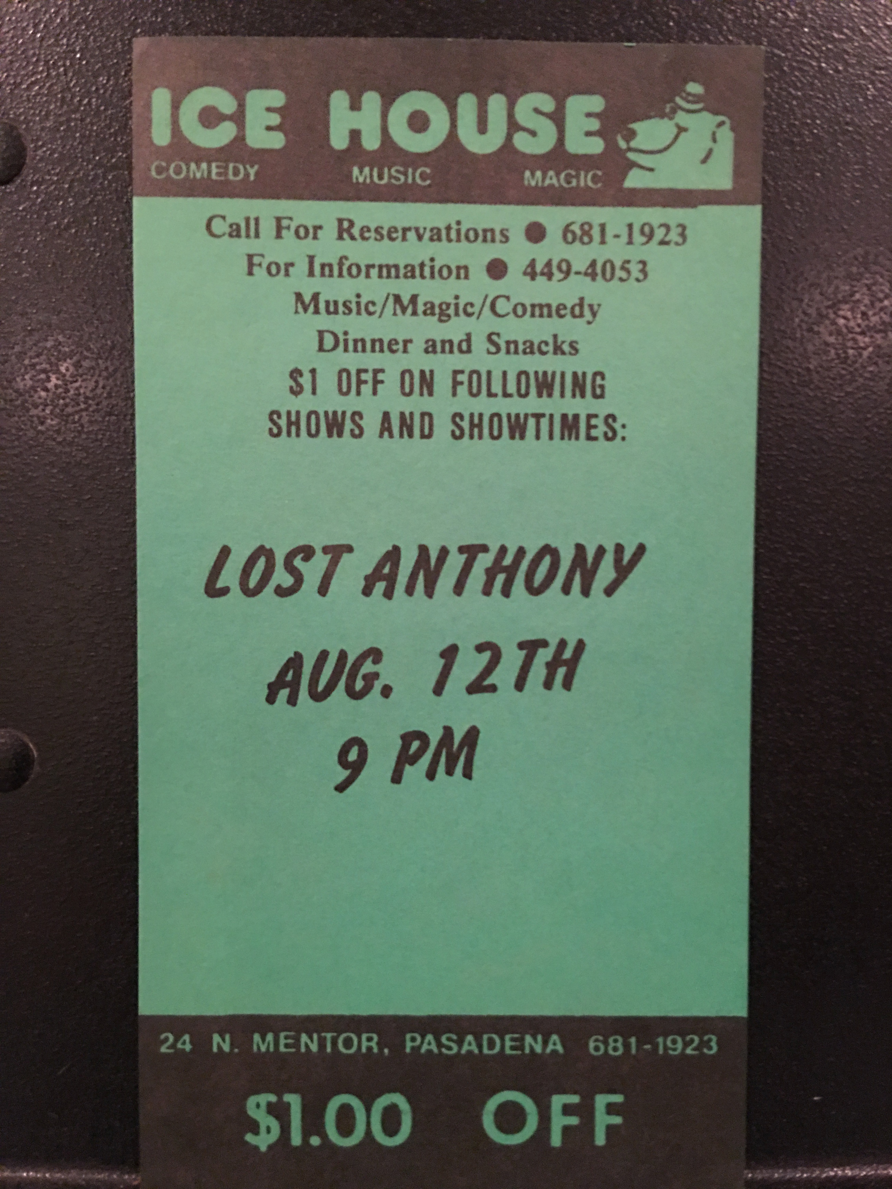 First-ever Lost Anthony show 1985