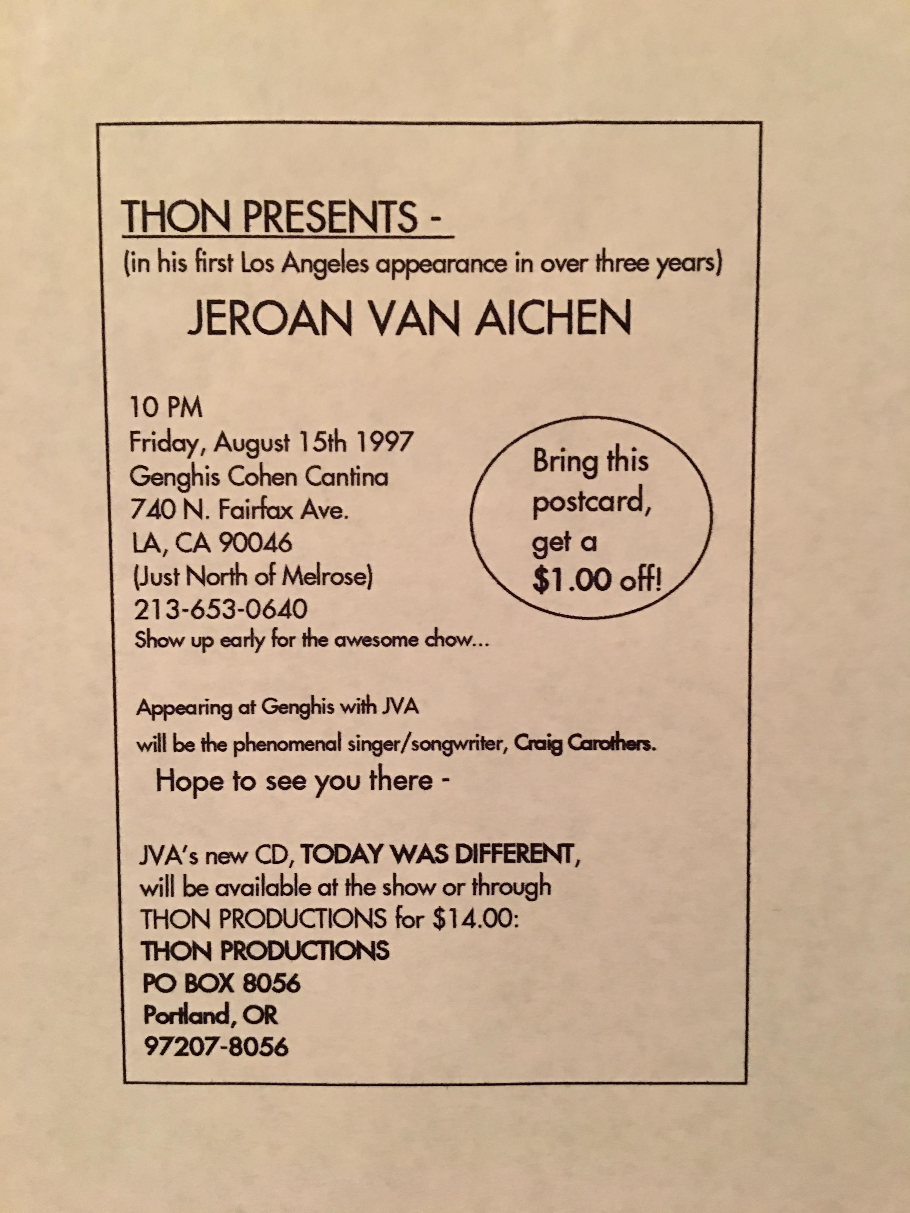 Flyer for LA gig 1998