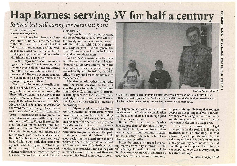 Hap Barnes article from TVHS archives.
