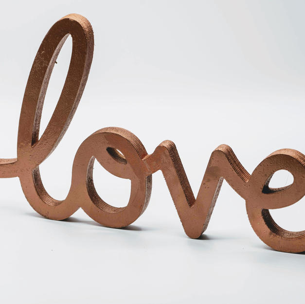 Copper Wood Love Sign