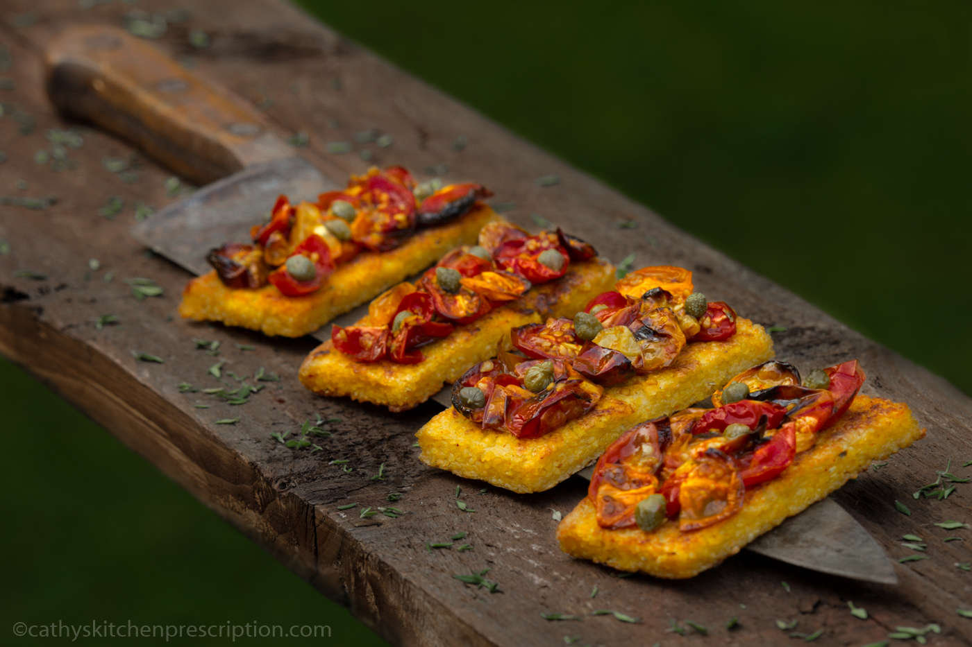 Polenta Crostini with Roasted Cherry Tomatoes