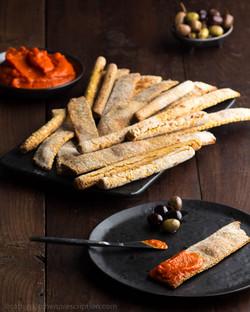 Whole Grain Flatbread Crisps and Breadsticks