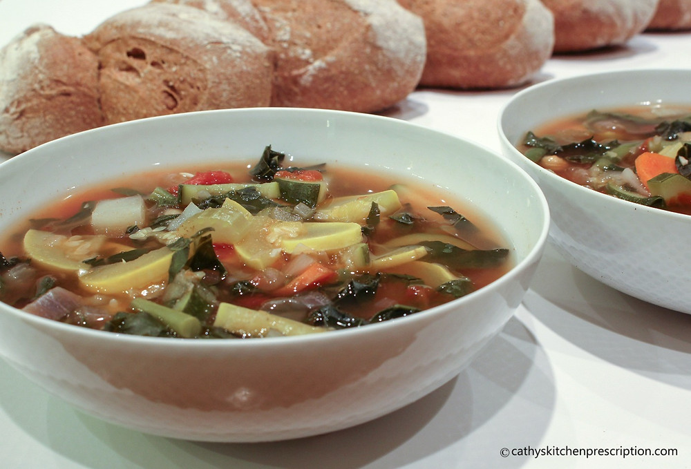 Tuscan Minestrone with sourdough whole wheat pain d'epi