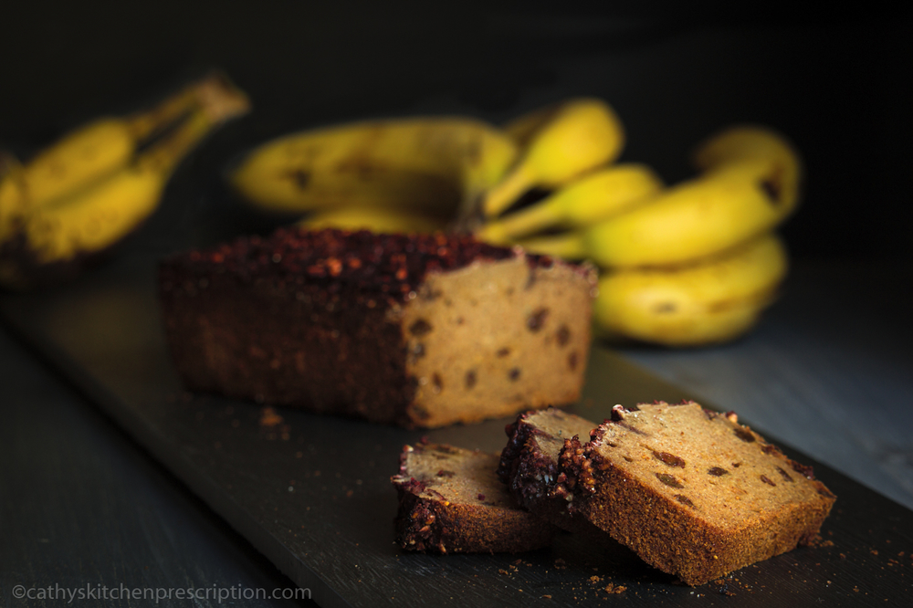 Buckwheat Raisin Banana Bread with Cherry Glaze
