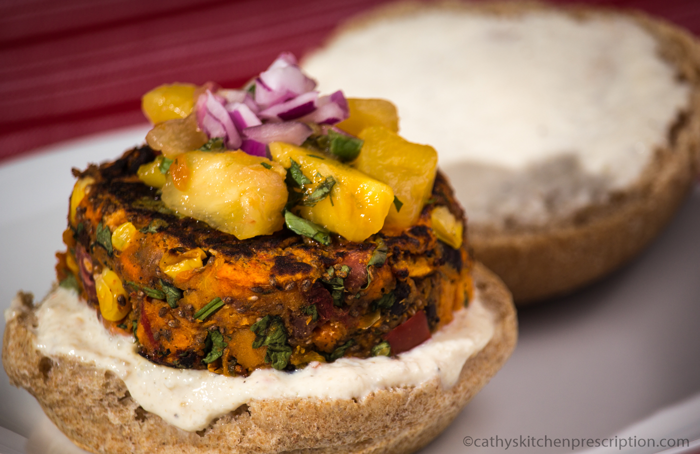 Sweet potato chili burger