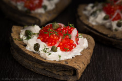 Buckwheat blini with tapioca caviar