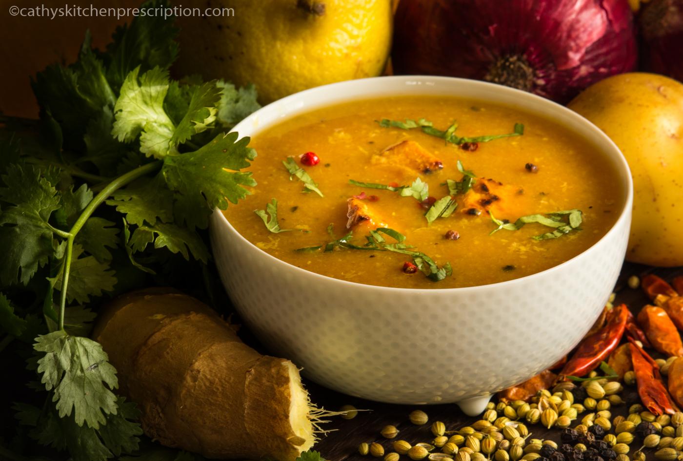 Mulligatawny soup w/tempeh croûtons