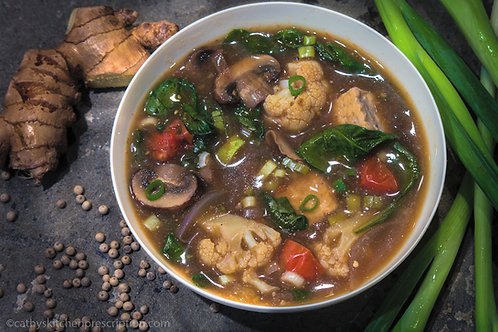 Cauliflower Mushroom Hot and Sour Soup with Tempeh