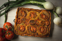 Onion Tarte with Basque Piperade Sauce