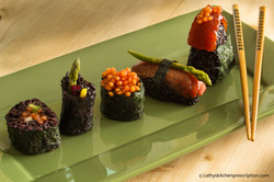An assortment of plant-based sushi