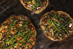 Mushroom Asparagus Sourdough Skillet Bread