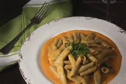 Leek Garganelli in Carrot Cream