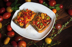 Roasted Tomato and Pepper Bruschetta