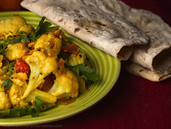 Cauliflower Masala with Whole Roti