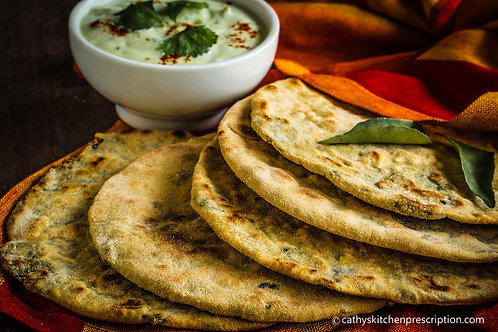 Parathas stuffed with baby greens