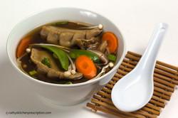 plant-based Chinese dumpling soup