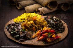 Ethiopian injera & veggie stews