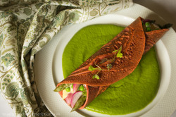 Beet-Buckwheat Crêpes in a Parsley-Sweet Pea Puddle