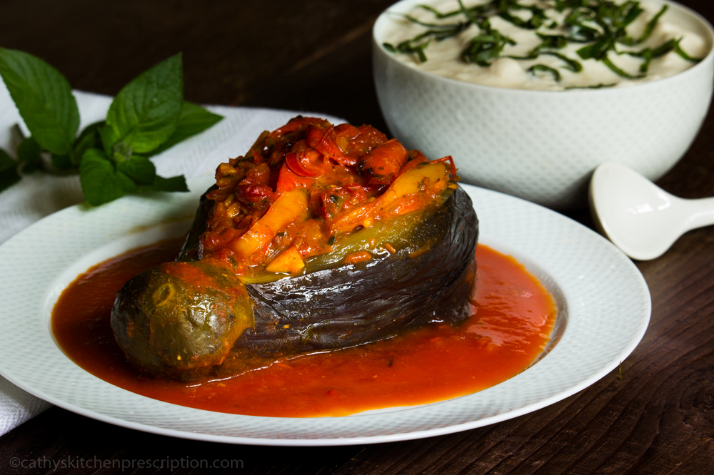 Imam Bayildi ~ Turkish Braised Stuffed Eggplant