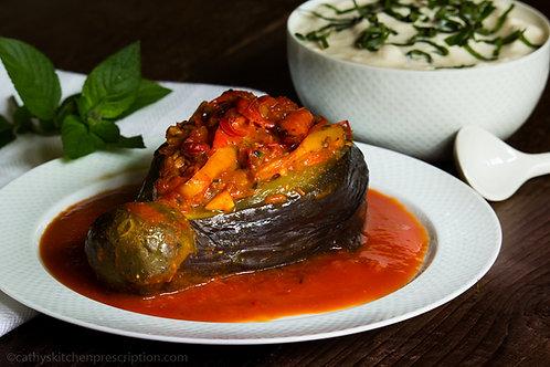 Imam Bayildi ~ Turkish Braised Stuffed Eggplants
