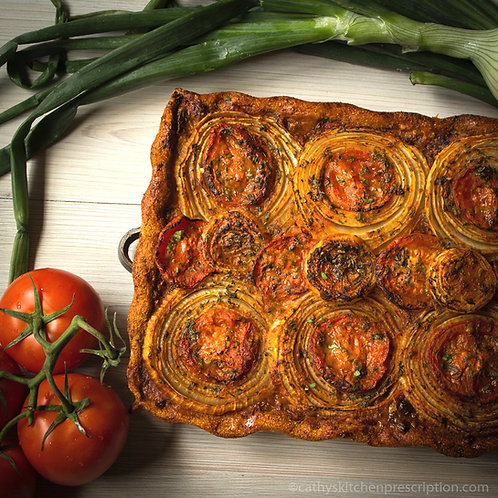 Onion Tarte with Roasted Piperade Sauce