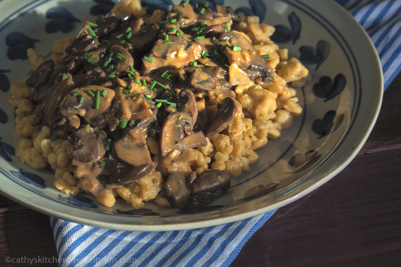 Whole Wheat Spaetzle with Mushrooms
