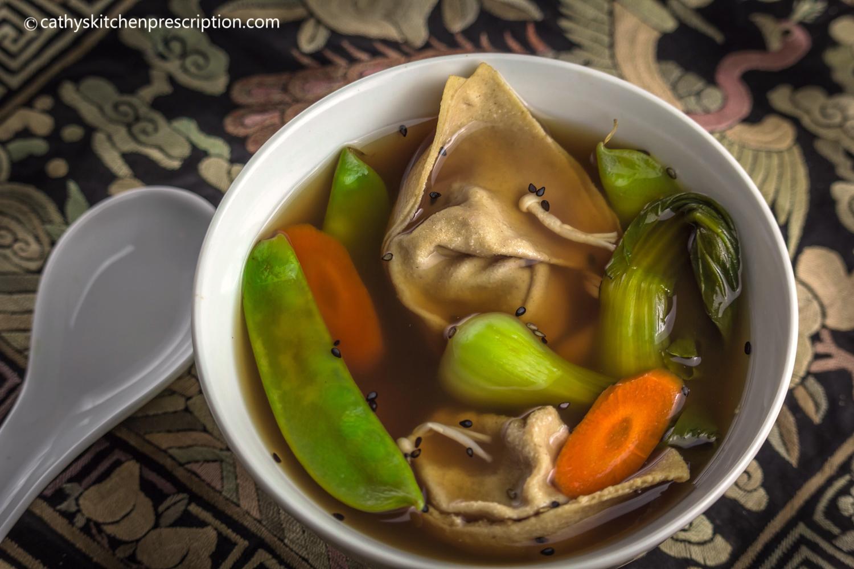 plant-based celestial wonton soup