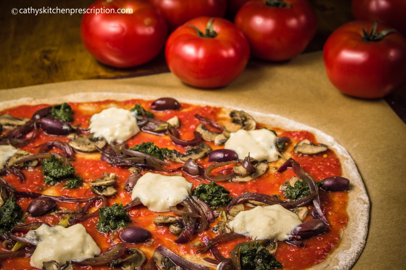 Whole grain pizza (no dairy or oils)