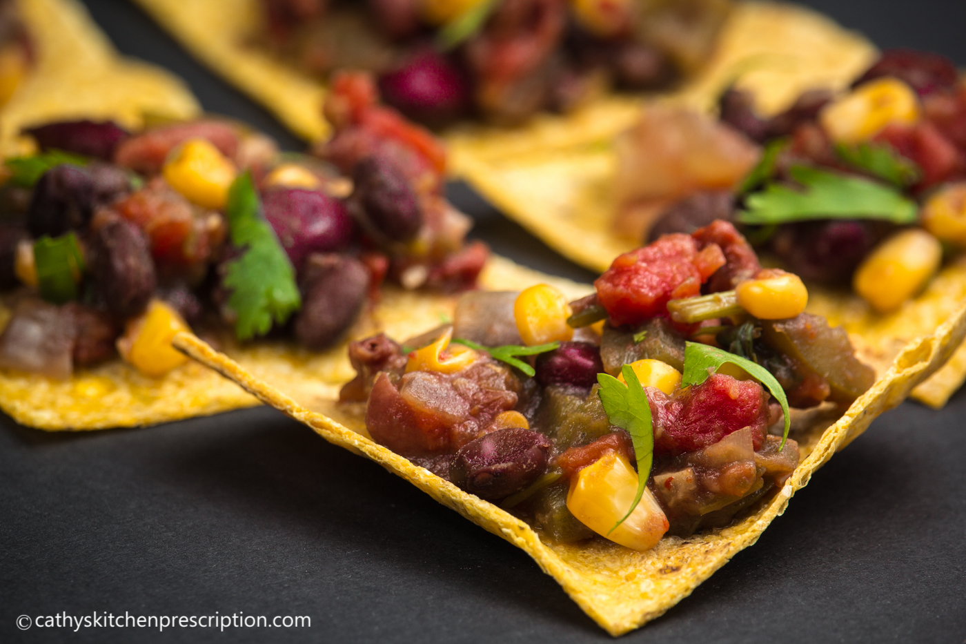 Simple chili atop tortilla chips