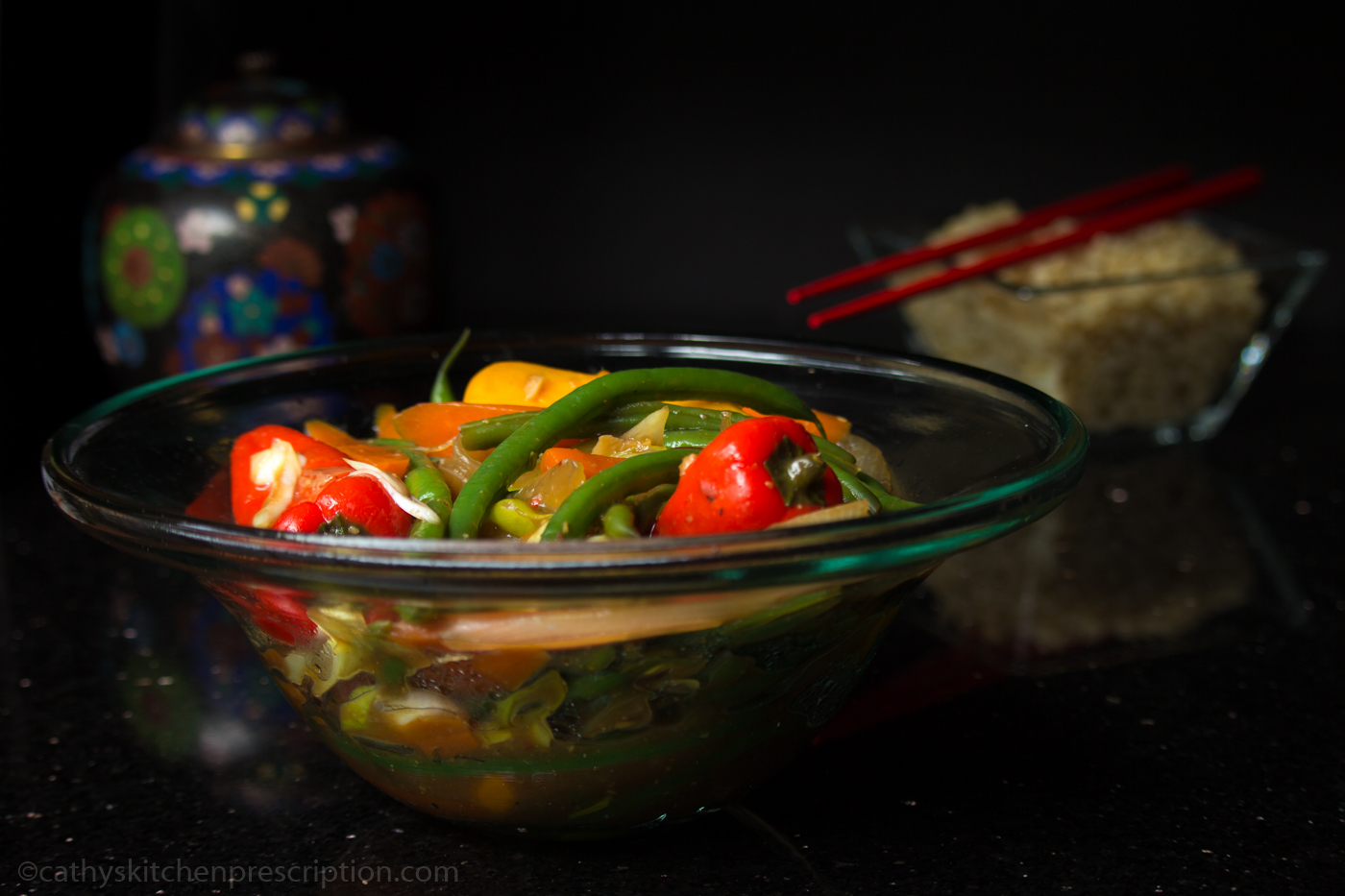 Stir-Fry with French Beans, Mini Bell Peppers, Carrot