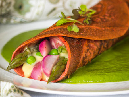 Beet-Buckwheat Crêpes in a Puddle