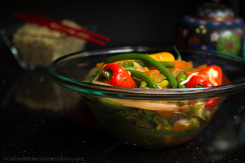 Stir-Fry with French Beans, Mini Bell Peppers, Carrots