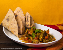 Vegan no-oil eggplant curry & roti