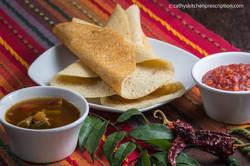 Sambar, dosa & tomato-onion chutney