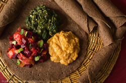 Ethiopian Injera with Plant-Based Toppings