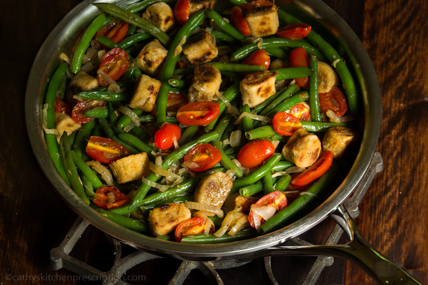 Pan-Fried Dumplings with Haricots Verts and Grape Tomatoes