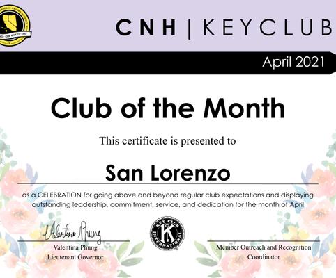 April 2021 Recognition