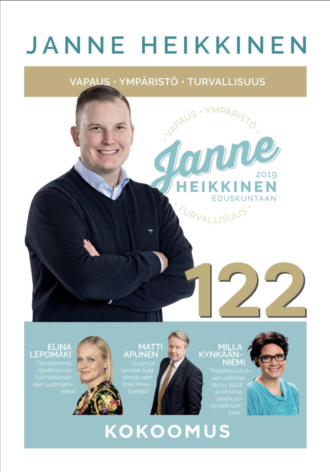 Janne Heikkisen vaalilehden taitto