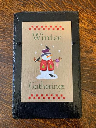 """""""Winter Gatherings"""" Snowman Roof Slate"""