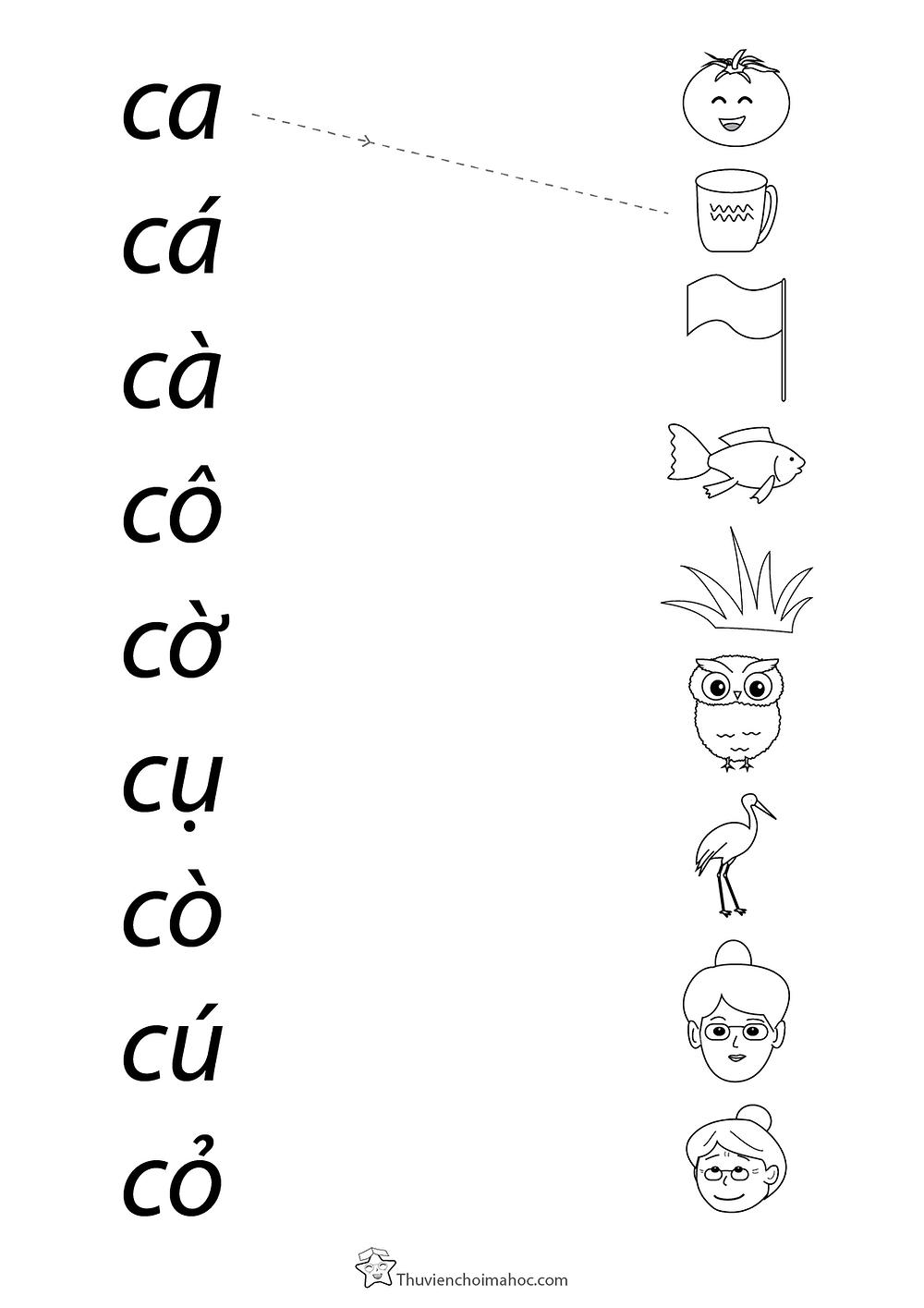 Trò chơi nối hình và chữ - bé tập đọc âm c