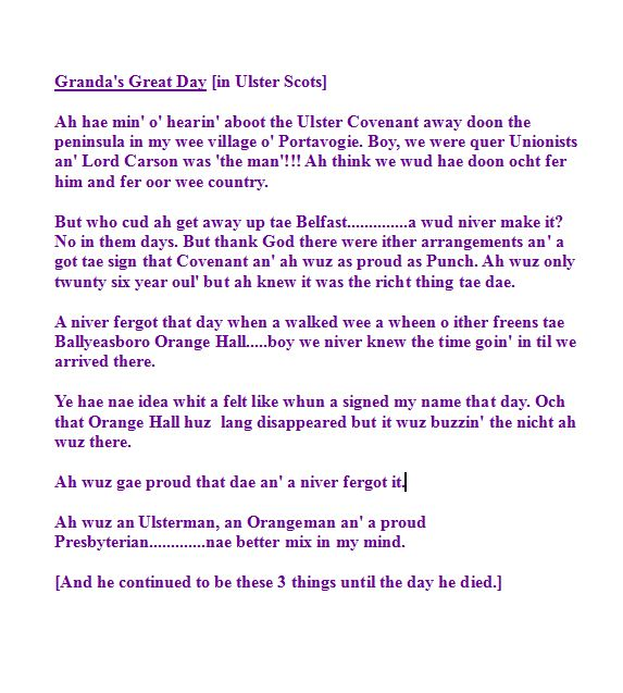 Granda's Great day Ulster covenant