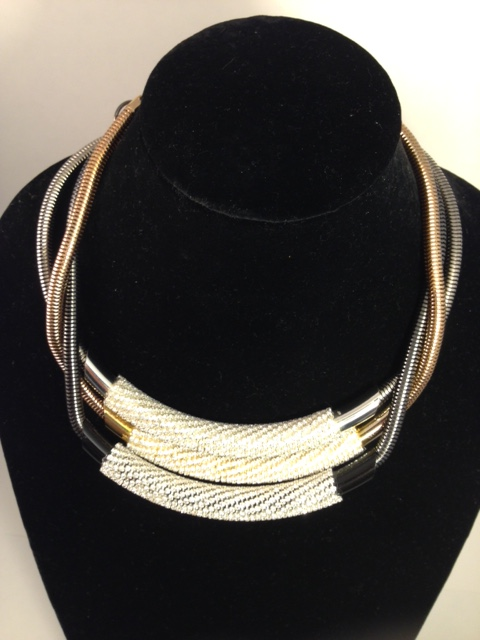 Tubeway Army necklaces. Gold /Silver/gunmetal