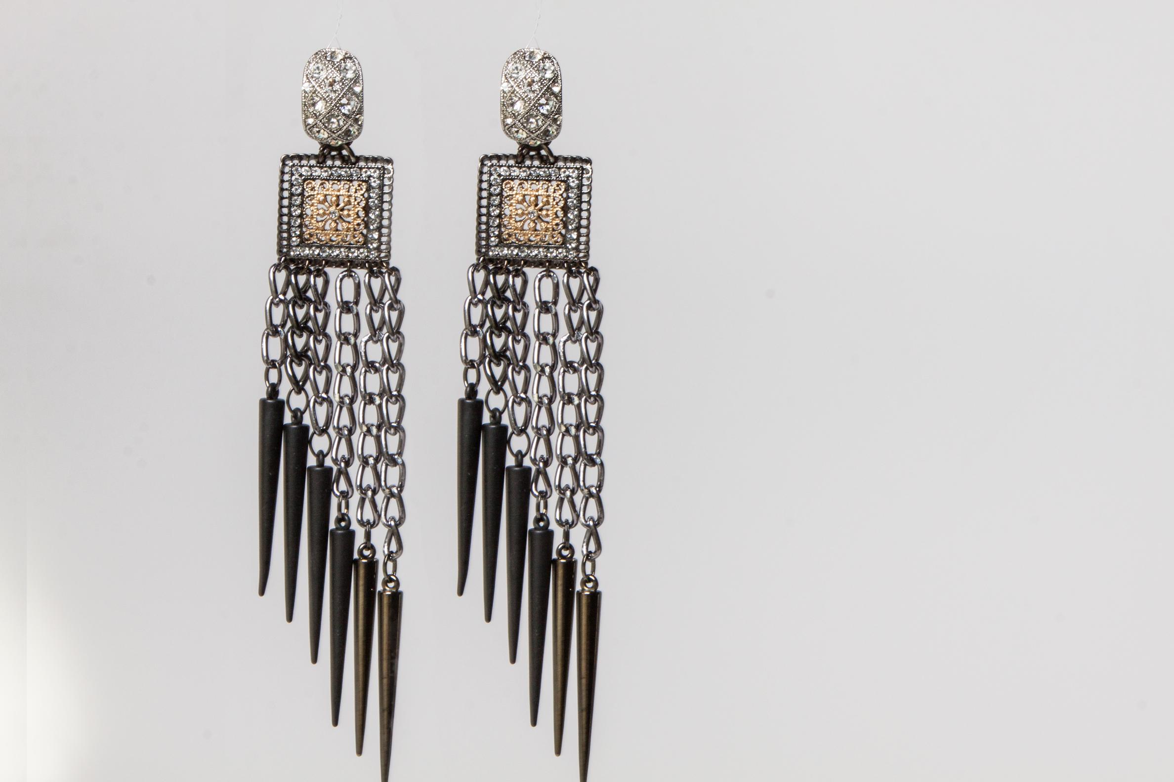 Theda Bara Deco spike earrings.