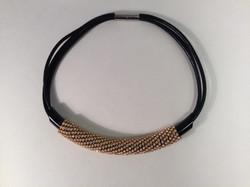 Massai Mara necklace. Blk/gold/leather