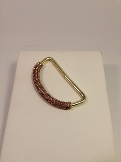 Bovver hand knuckleduster. Baby pink crystal/Brass