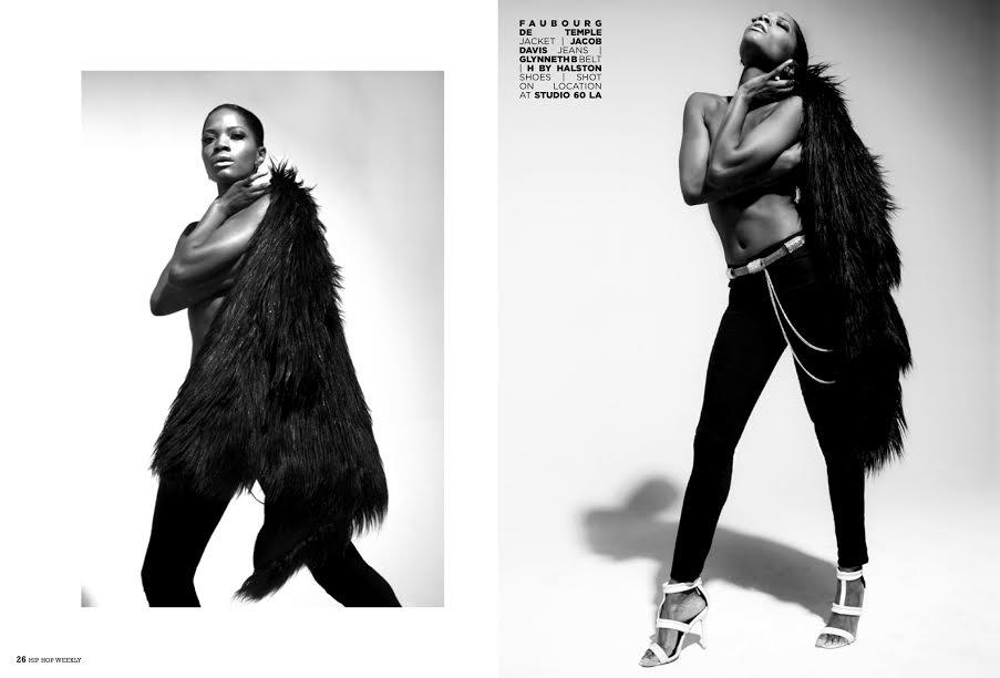 HHW magazine model wears Belt Up  belt in silver