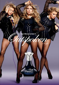 Fergie wears Gallactic necklace for Outspoken perfume for Avon.