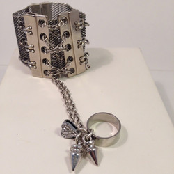 Laced with Love. Cuff with attached spike/heart ring